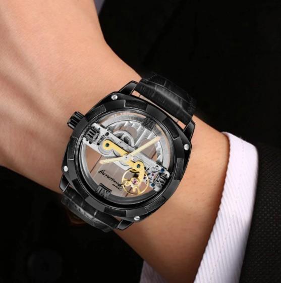 男性高級腕時計 43mm 機械式自動巻 スケルトンデザイン トゥールビヨン 本革ベルト シンプル メンズウォッチ 紳士_画像2