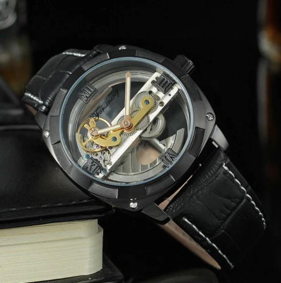 男性高級腕時計 43mm 機械式自動巻 スケルトンデザイン トゥールビヨン 本革ベルト シンプル メンズウォッチ 紳士_画像7