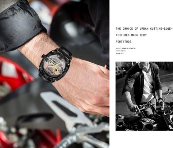 男性高級腕時計 43mm 機械式自動巻 スケルトンデザイン トゥールビヨン 本革ベルト シンプル メンズウォッチ 紳士_画像1