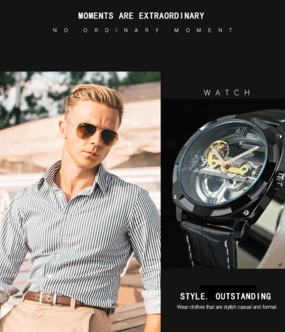 男性高級腕時計 43mm 機械式自動巻 スケルトンデザイン トゥールビヨン 本革ベルト シンプル メンズウォッチ 紳士_画像5