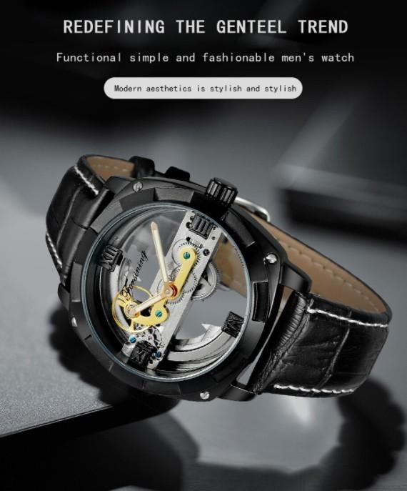 男性高級腕時計 43mm 機械式自動巻 スケルトンデザイン トゥールビヨン 本革ベルト シンプル メンズウォッチ 紳士_画像8