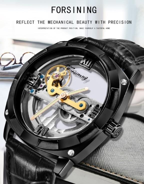 男性高級腕時計 43mm 機械式自動巻 スケルトンデザイン トゥールビヨン 本革ベルト シンプル メンズウォッチ 紳士_画像6