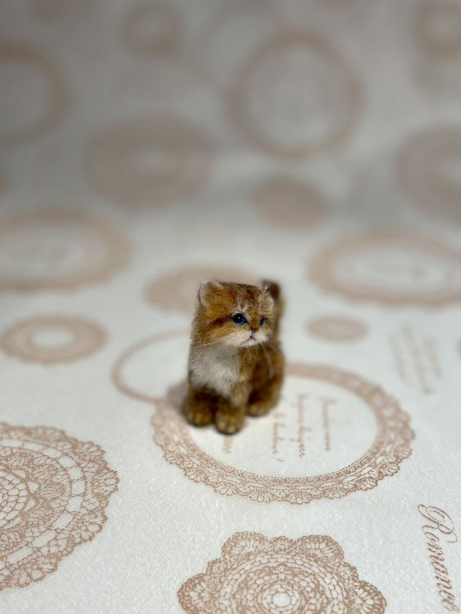 **羊毛フェルト 小さなチンチラゴールデン ペルシャ子猫 ドールハウス ハンドメイド ブライス 人形*_画像6