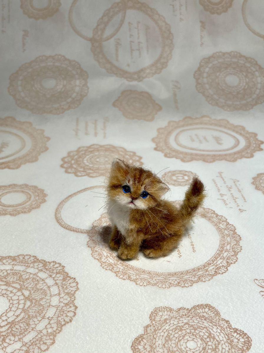 **羊毛フェルト 小さなチンチラゴールデン ペルシャ子猫 ドールハウス ハンドメイド ブライス 人形*_画像9