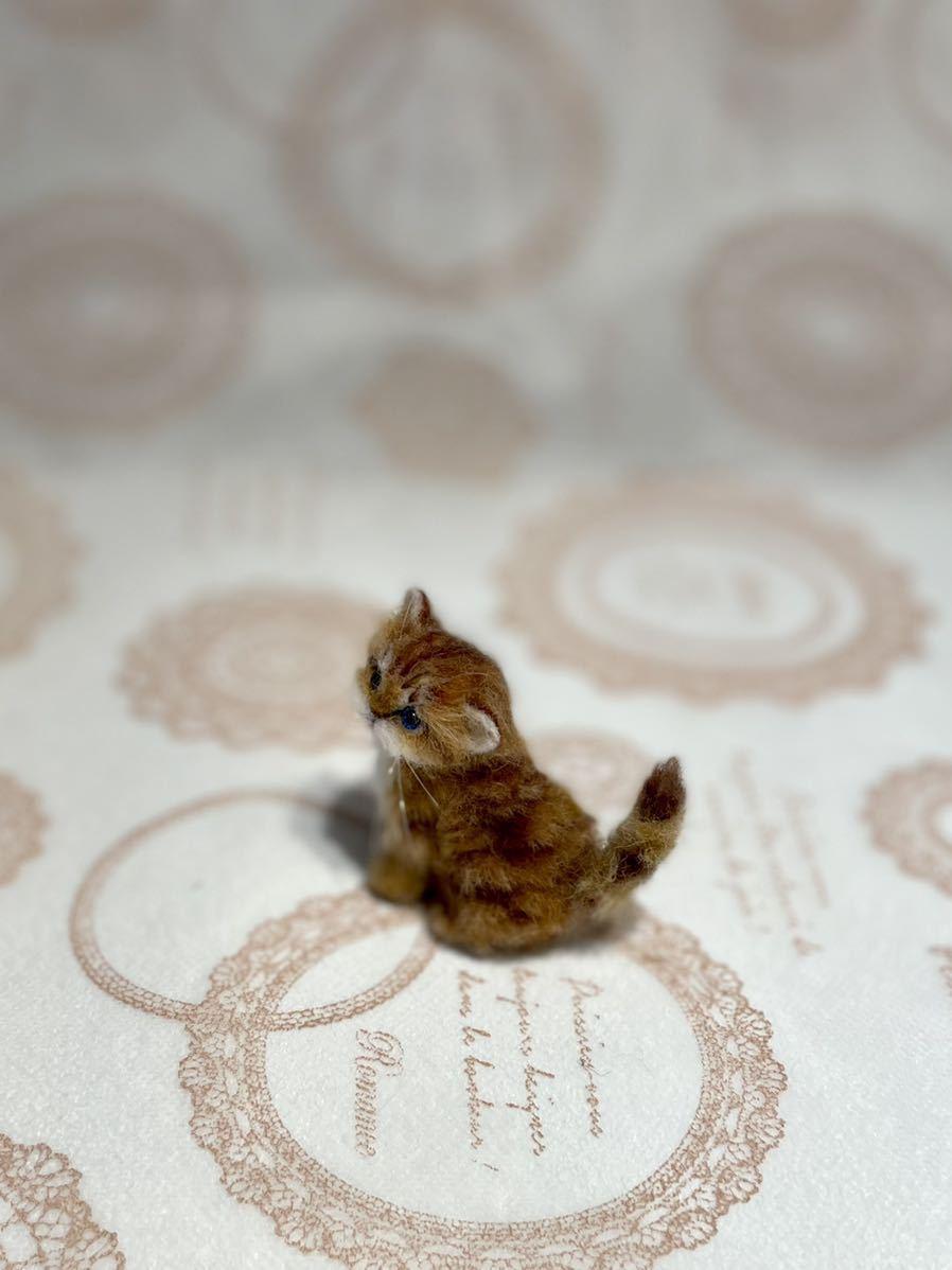 **羊毛フェルト 小さなチンチラゴールデン ペルシャ子猫 ドールハウス ハンドメイド ブライス 人形*_画像3