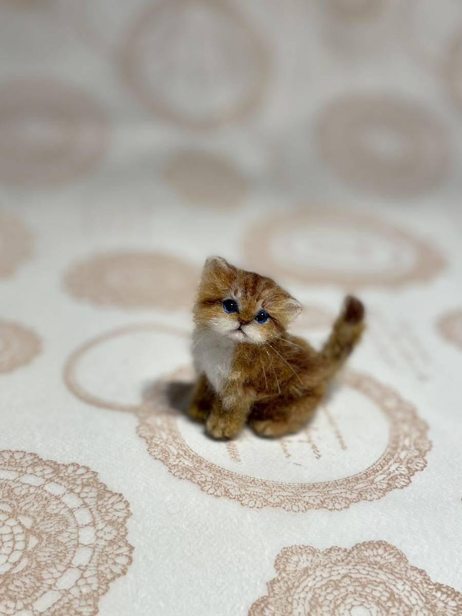 **羊毛フェルト 小さなチンチラゴールデン ペルシャ子猫 ドールハウス ハンドメイド ブライス 人形*_画像7