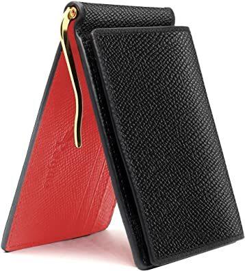 レッド PEYNE マネークリップ 小銭入れ付き メンズ 財布 - カード 大容量 本革 二つ折り 小銭入れ 薄い財布, カード_画像1