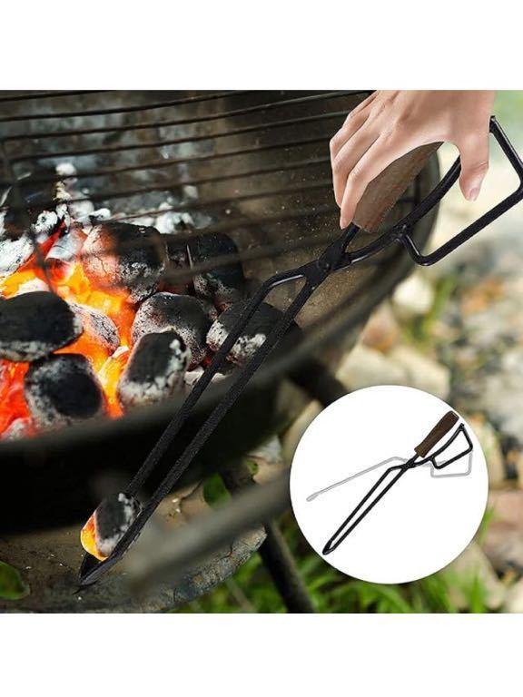 バーベキュー 炭ばさみ 薪ばさみ 火ばさみ 超軽量 アウトドア用BBQトング 炭バサミ バーベキュー用 マルチ たき火 用ツール キャンプ用品