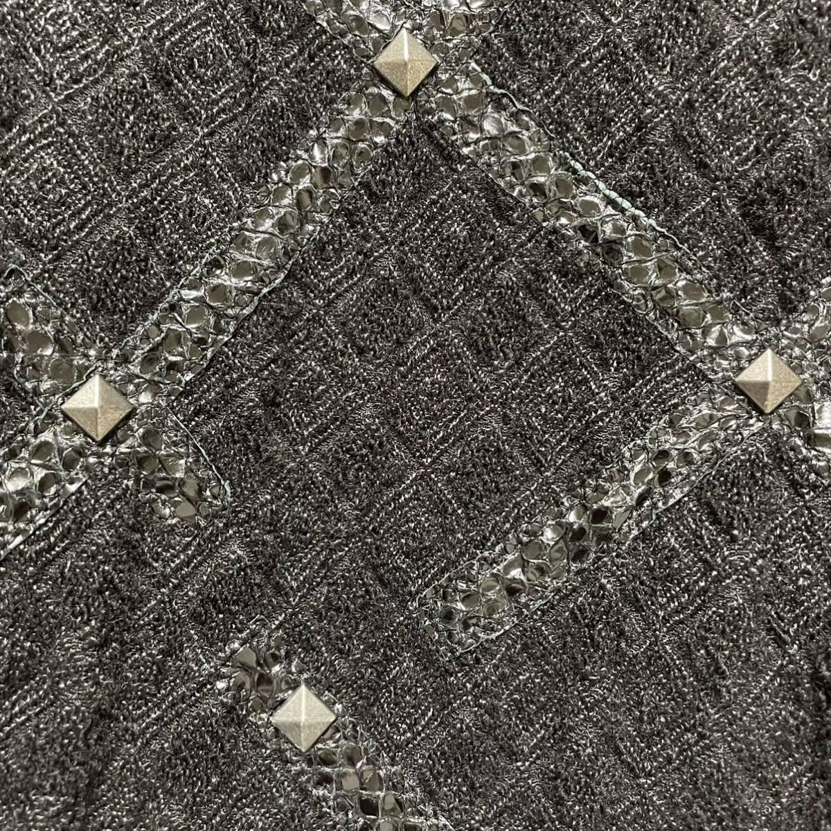 本物 美品 ボッテガヴェネタ レザー使い スタッズ付 ツイード ノースリーブ ワンピース 膝丈 ウール シルク 38 ブラック 黒 BOTTEGA VENETA_画像7