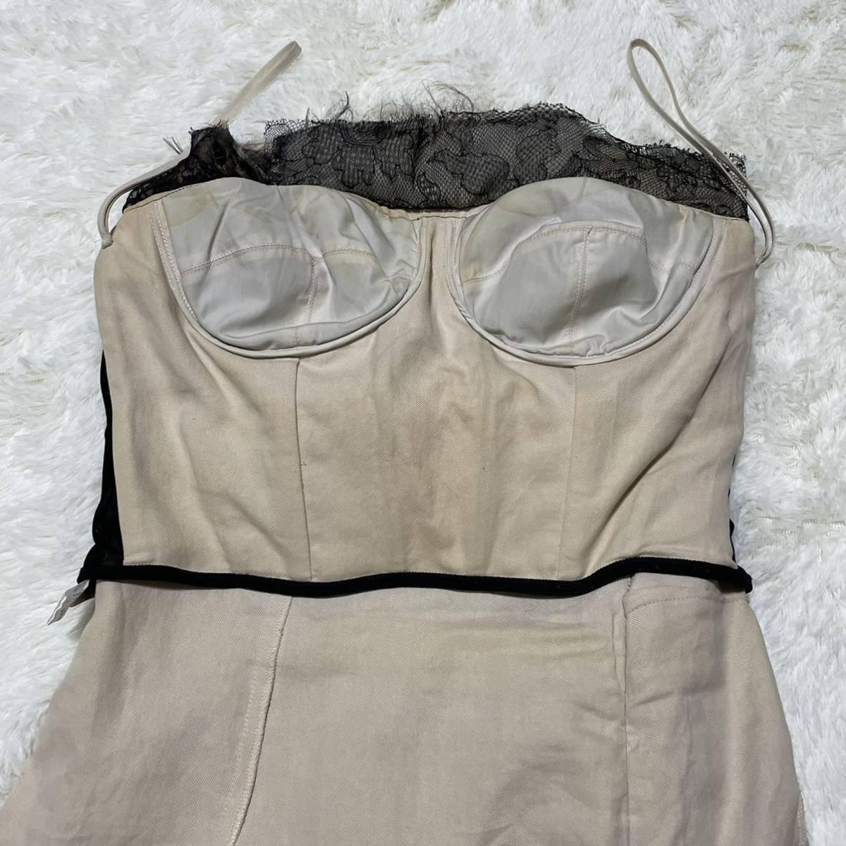 本物 コレクションモデル ボッテガヴェネタ シルク混 レース ギャザーレイヤード オフショルダー ワンピース ドレス 38 BOTTEGA VENETA_画像8
