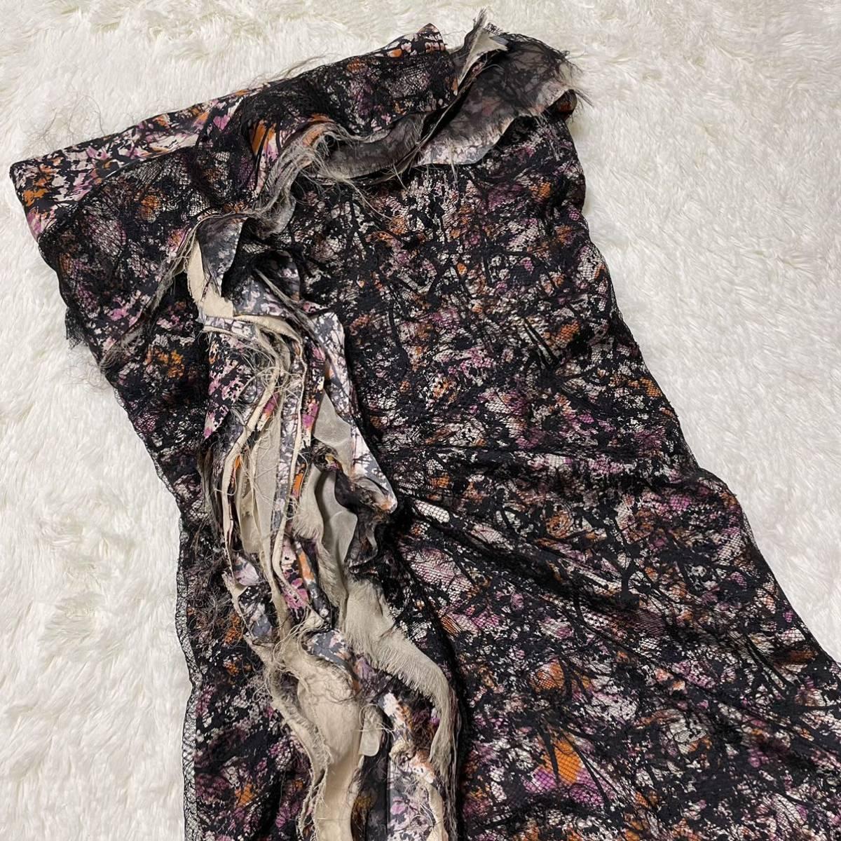 本物 コレクションモデル ボッテガヴェネタ シルク混 レース ギャザーレイヤード オフショルダー ワンピース ドレス 38 BOTTEGA VENETA_画像4
