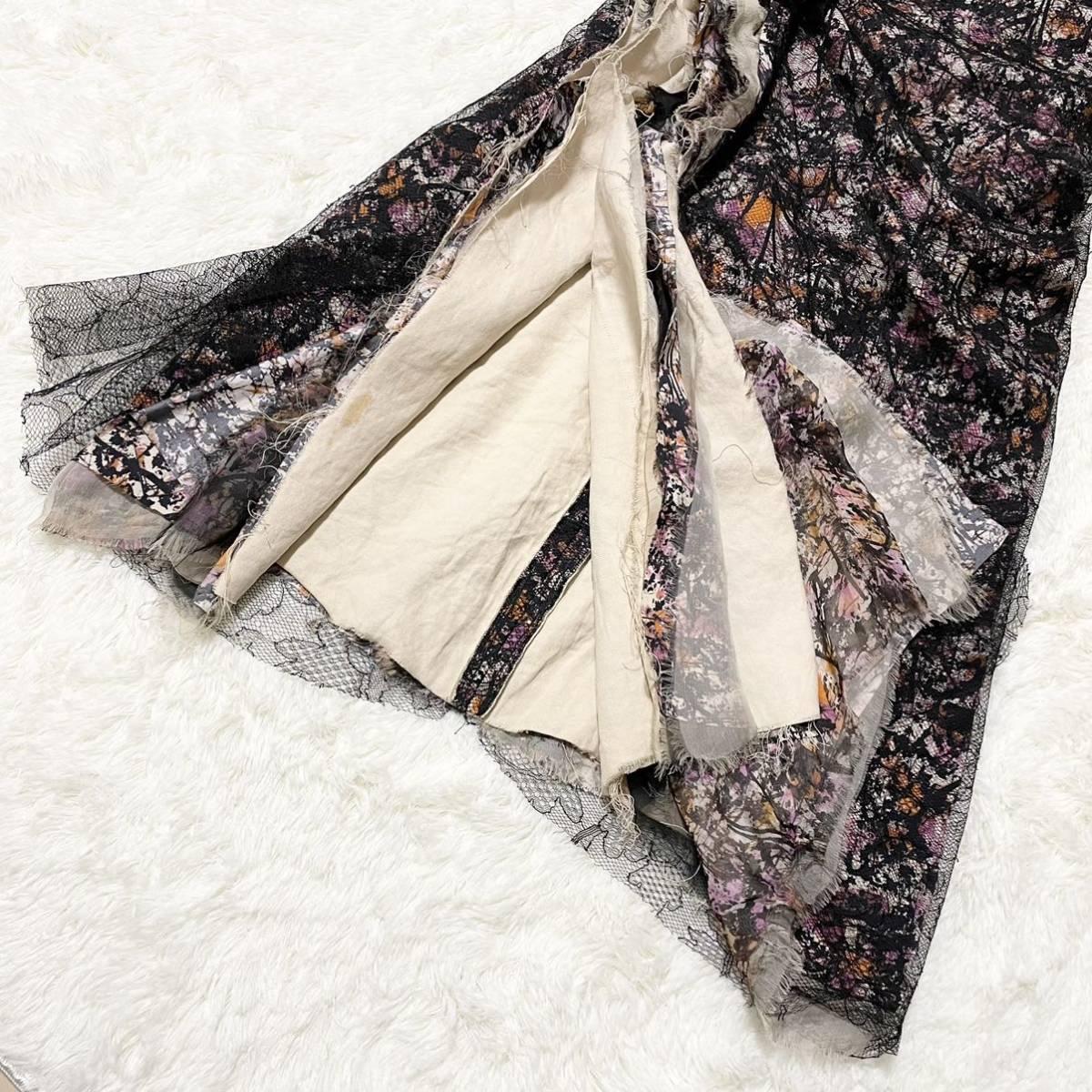 本物 コレクションモデル ボッテガヴェネタ シルク混 レース ギャザーレイヤード オフショルダー ワンピース ドレス 38 BOTTEGA VENETA_画像5