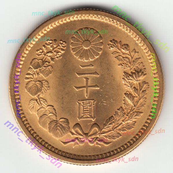 新20円金貨 大正5年 日本貨幣商協同組合鑑定書付き_スキャナ取り込み画像