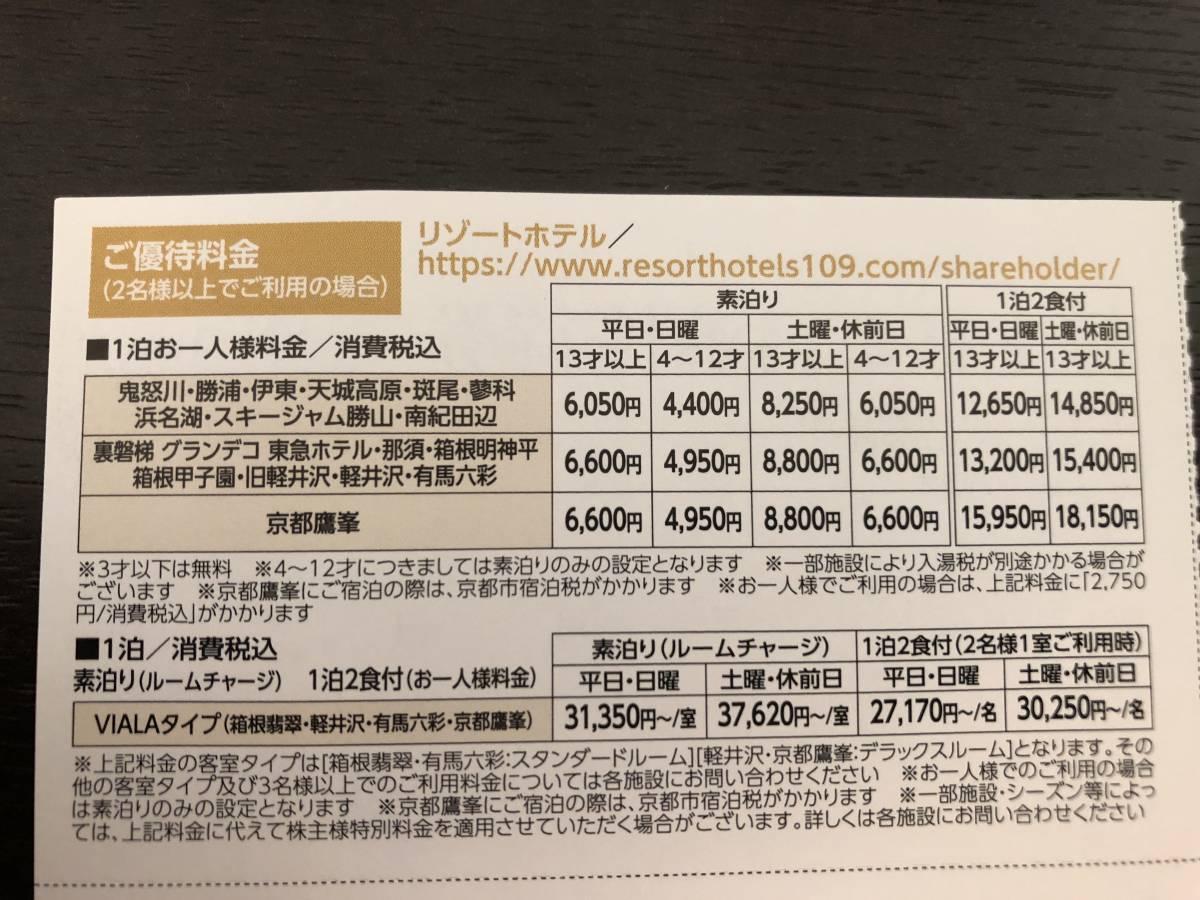 《《 東急不動産ホールディングス 株主ご宿泊優待券 1枚 鬼怒川、伊東、那須、箱根翡翠 他  2021. 8.31まで 送料無料 》》_画像2