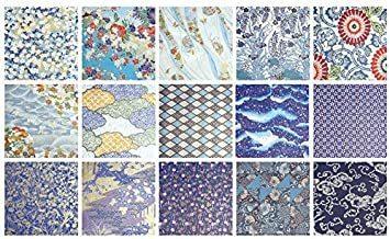 新品 青色系Bセット15枚 【.co.jp 限定】和紙かわ澄 千代紙 友禅和紙 大判 38.5×53cmUS87_画像4