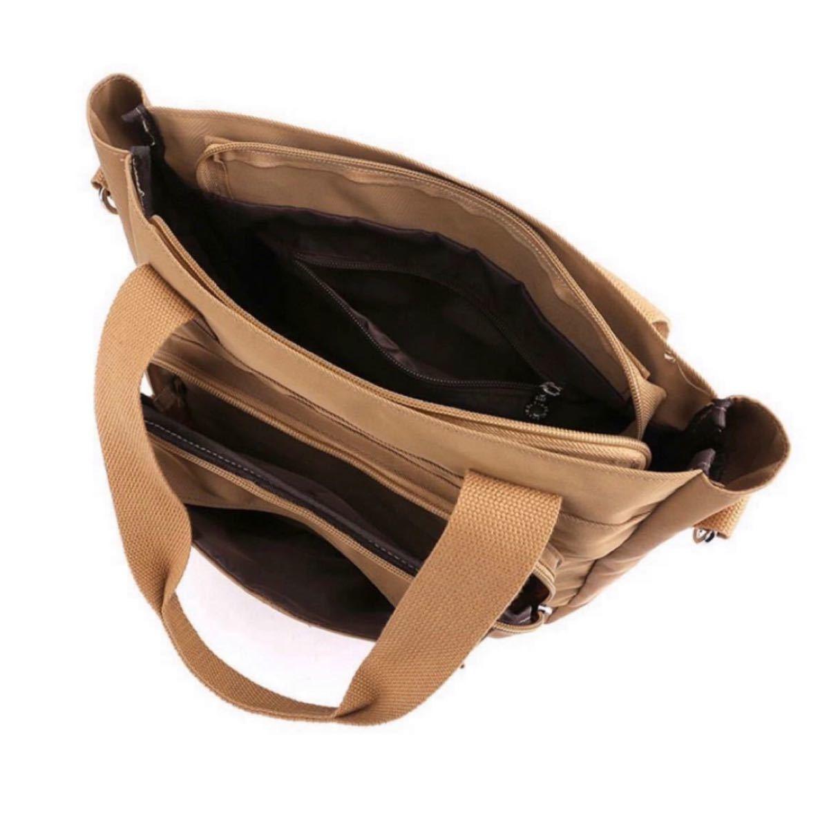 ショルダーバッグ レディース メンズ トートバッグ  メッセンジャーバッグ 2way 大容量 多機能 ナイロン 男女兼用 カーキ