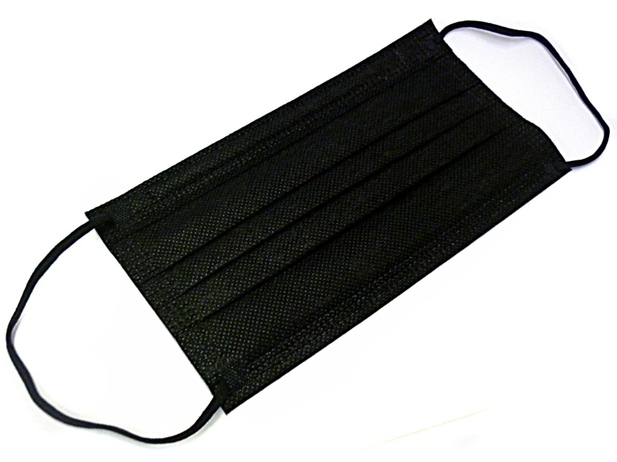 ◇送料無料 使い捨てマスク 3層構造 99%カットフィルター 不織布マスク 幅広平ゴム 黒 50枚入り 大人ふつうサイズ 17.5×9.5cm_画像2