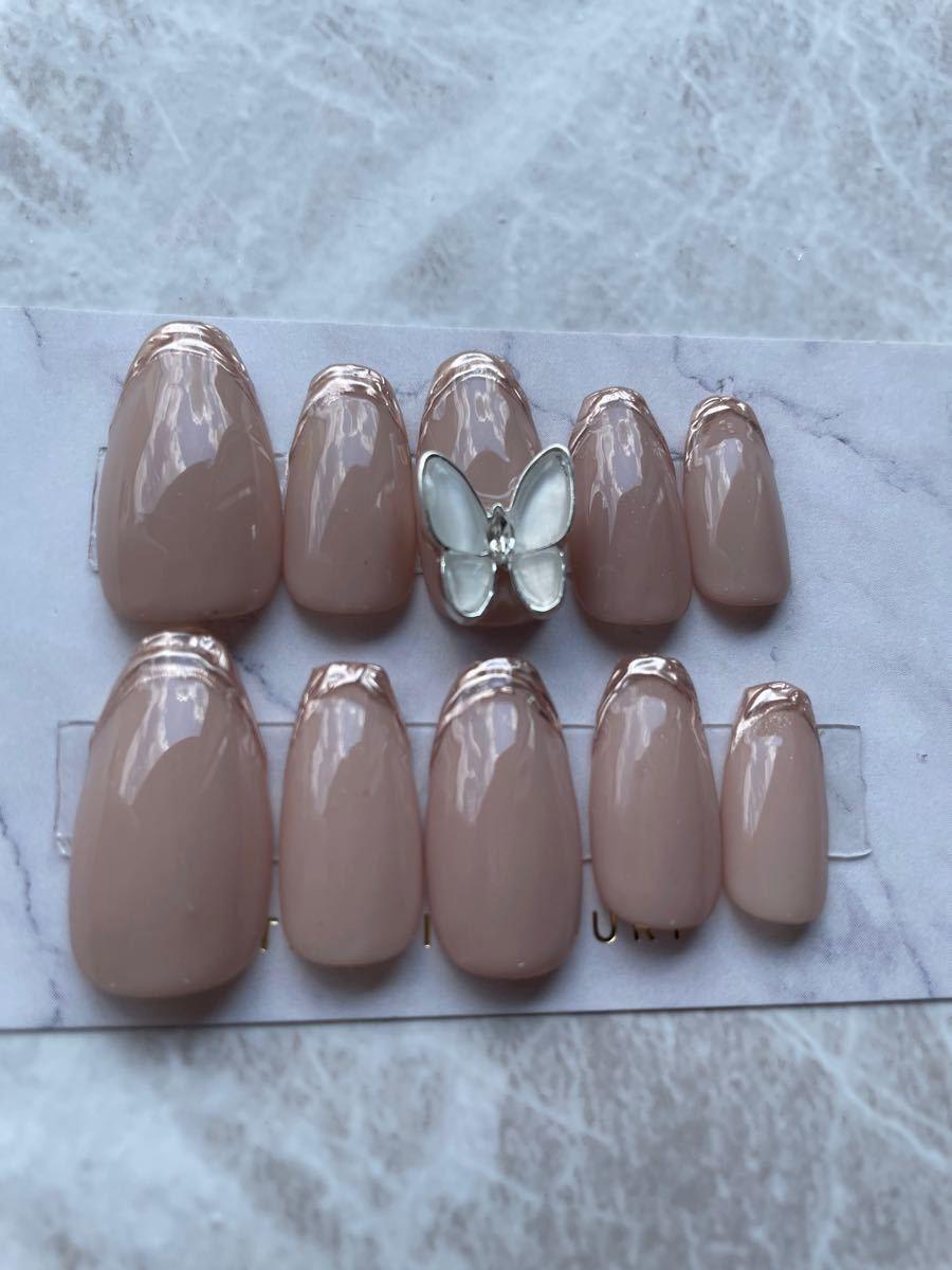 ネイルチップ 蝶々ネイル フレンチネイル