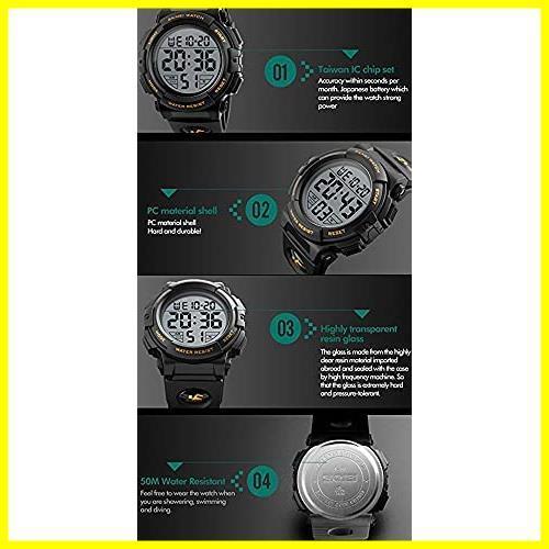1E 新品 メンズ 防水腕時計 led watch 迅速対応 Timever(タイムエバー)デジタル腕時計 スポーツウォッチ アラーム_画像6