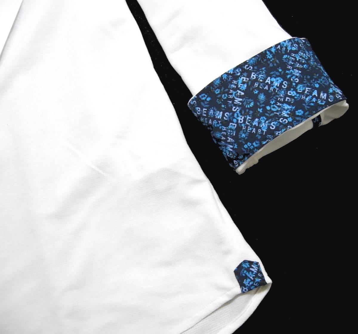 新品 春夏 ★ ビームス 七分袖 カプリシャツ L 白 ホワイト カット プルオーバー 小花柄 BEAMS HEART_画像4