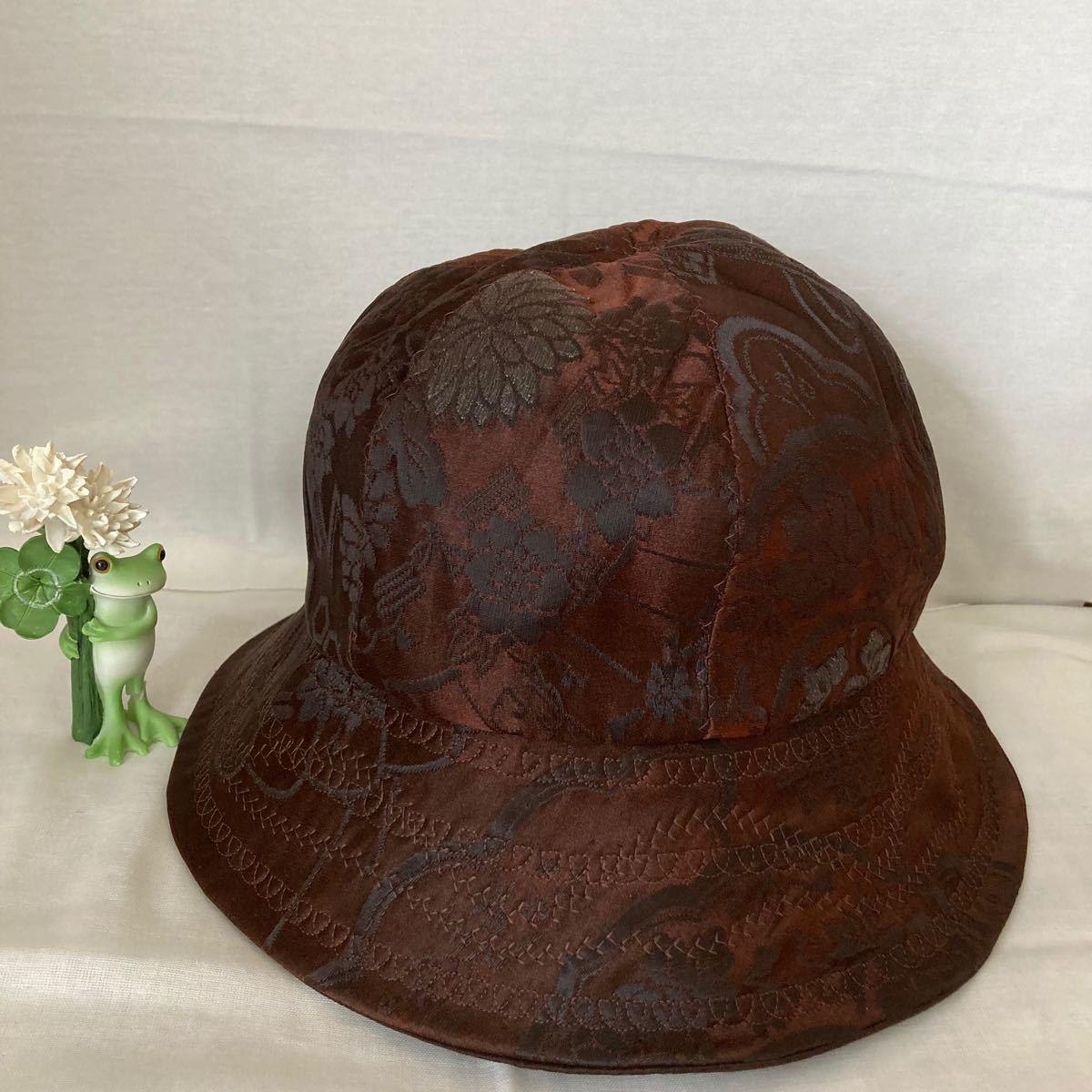 ハンドメイド 正絹帯リメイク 帽子