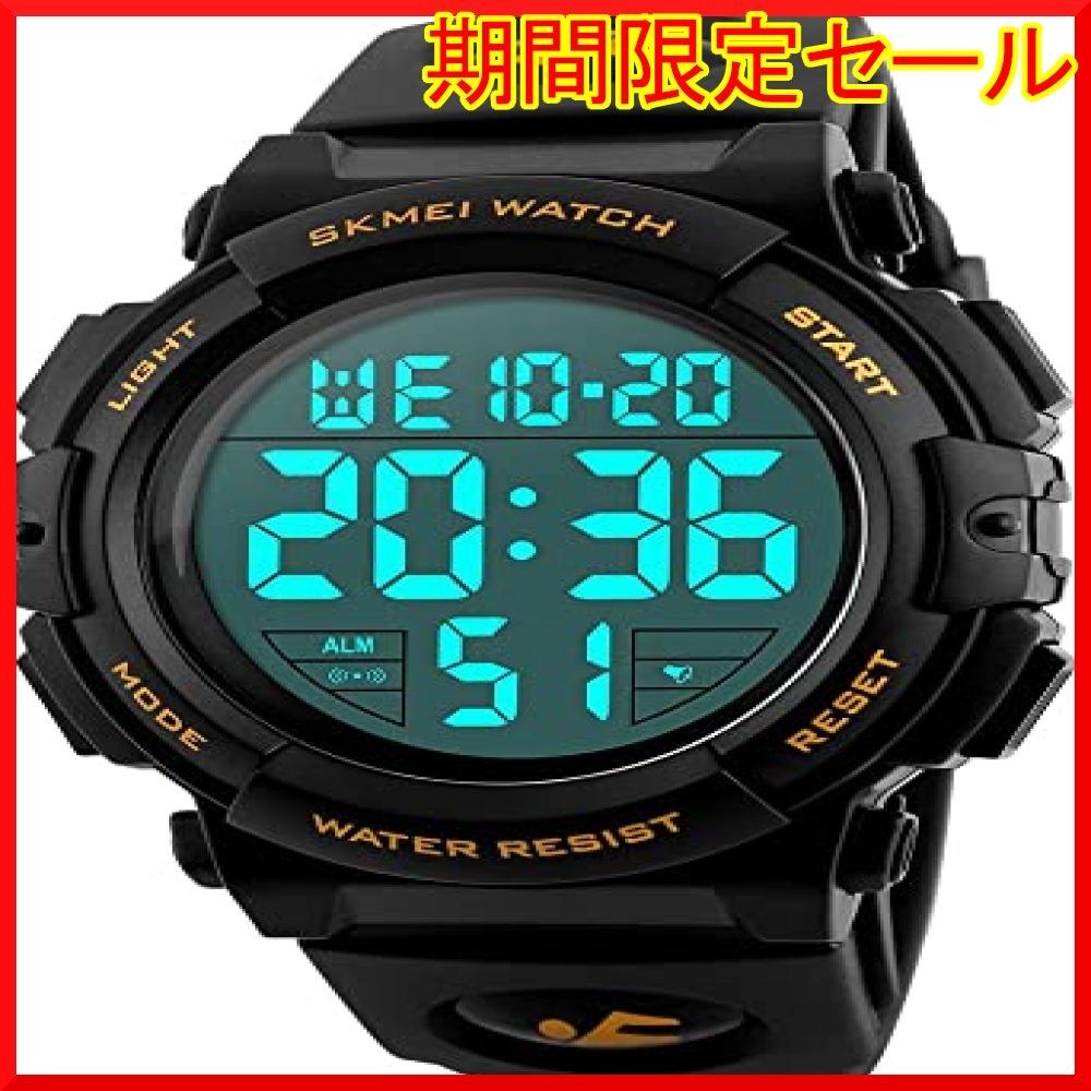 01-ゴールド 腕時計 メンズ デジタル スポーツ 50メートル防水 おしゃれ 多機能 LED表示 アウトドア 腕時計(ゴールド_画像1
