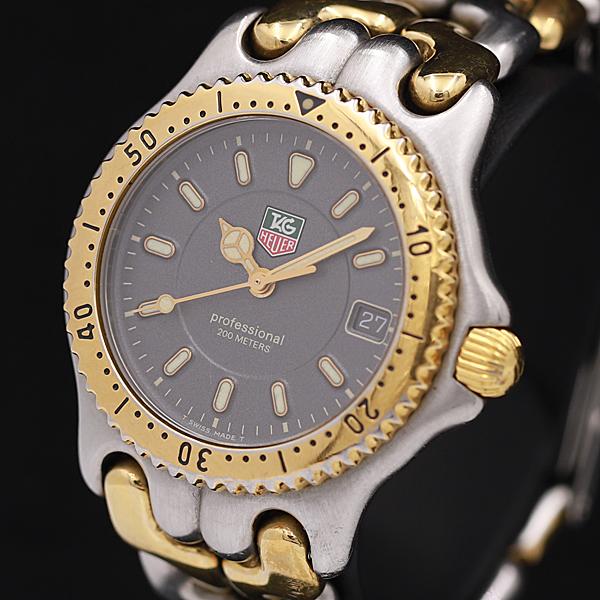 1円◆稼働◆良品 保証書付き【タグホイヤー/TAGHEUER】WG1220-K0 セル プロフェッショナル QZ 黒系文字盤 メンズ/ボーイズ腕時計 A0108789