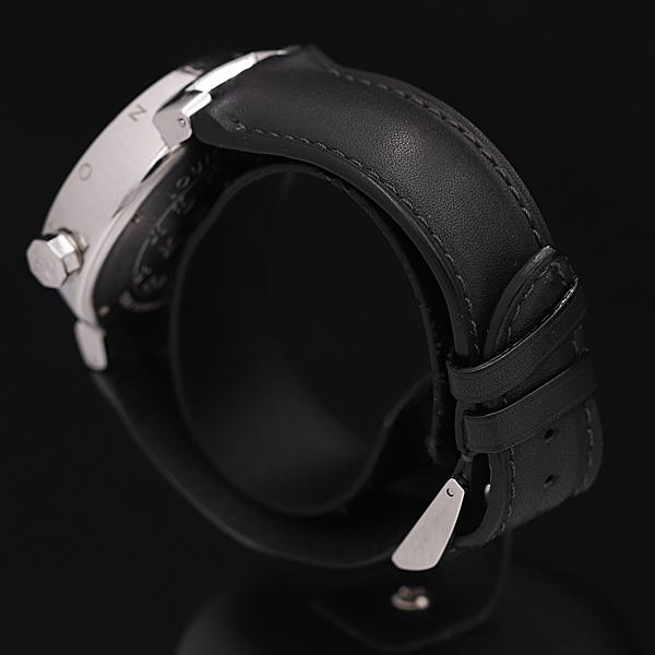 1円★稼働★【ルイヴィトン】タンブール Q1111 スイス製 ブラウン系文字盤 デイト 純正ベルト QZ メンズ腕時計 350A0109251_画像3