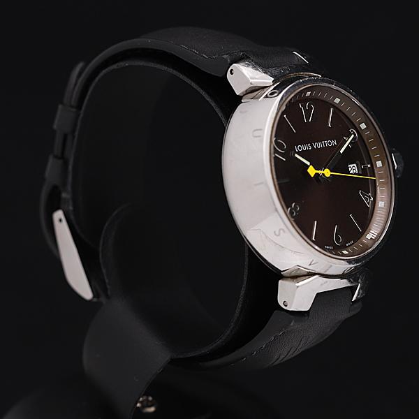 1円★稼働★【ルイヴィトン】タンブール Q1111 スイス製 ブラウン系文字盤 デイト 純正ベルト QZ メンズ腕時計 350A0109251_画像2