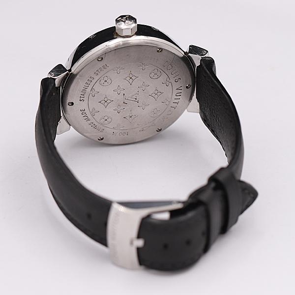 1円★稼働★【ルイヴィトン】タンブール Q1111 スイス製 ブラウン系文字盤 デイト 純正ベルト QZ メンズ腕時計 350A0109251_画像4