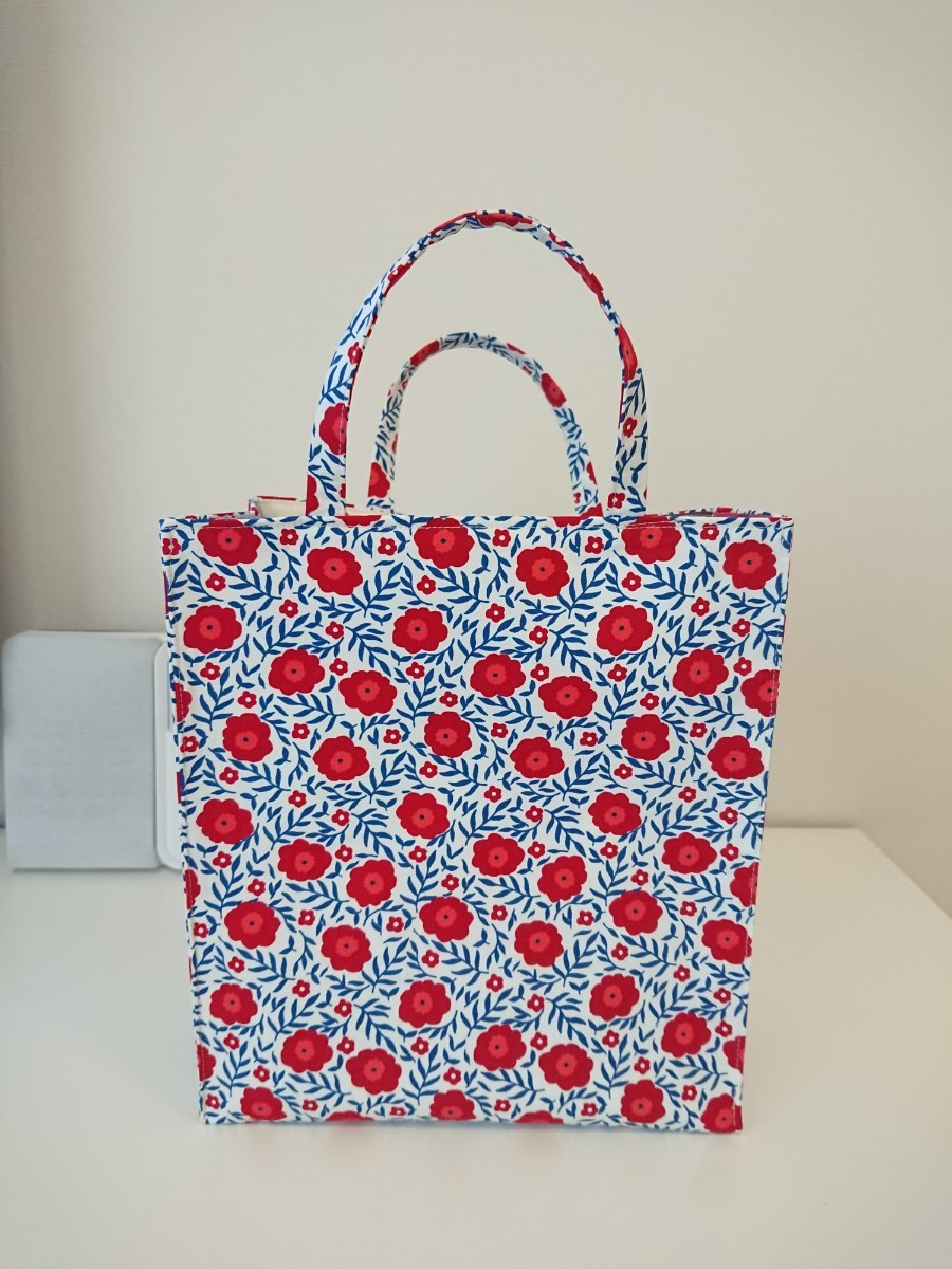 ハンドメイド エコバッグ  トートバッグ 花柄 紙袋型 ミニトート  スクエアトートバッグ