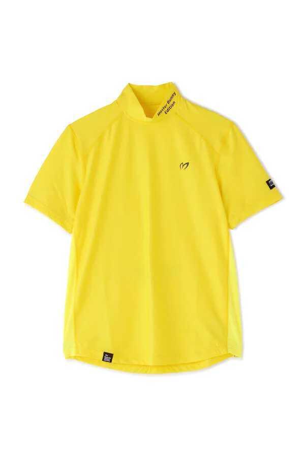 新品正規品 マスターバニー パーリーゲイツ サイズ3 2021モデルの最新作 高機能4wayストレッチ ハイネックシャツ イエロー 送料無料_画像5
