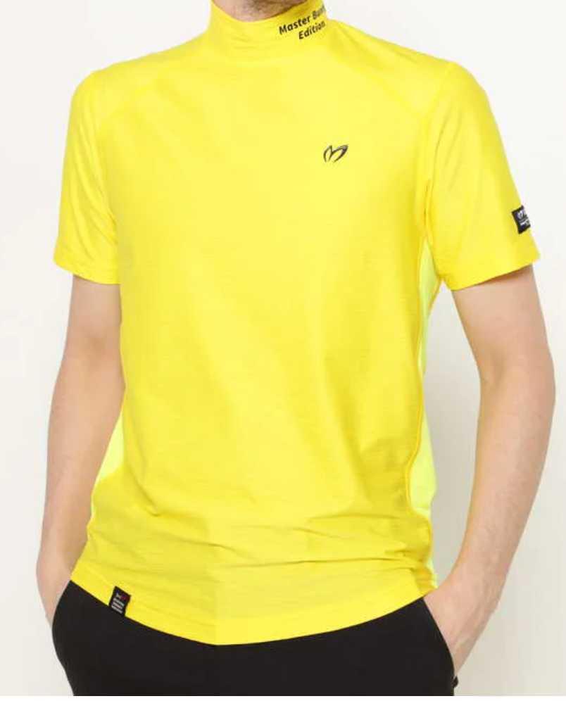 新品正規品 マスターバニー パーリーゲイツ サイズ3 2021モデルの最新作 高機能4wayストレッチ ハイネックシャツ イエロー 送料無料_画像2