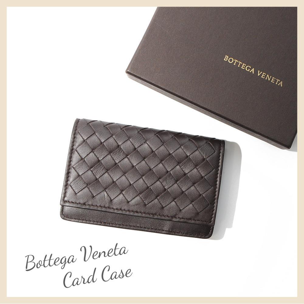 ボッテガ・ヴェネタ カードケース 名刺入れ イントレチャート ブラウン 茶色 BOTTEGA VENETA CARD CASE BROWN B00050786C_画像1