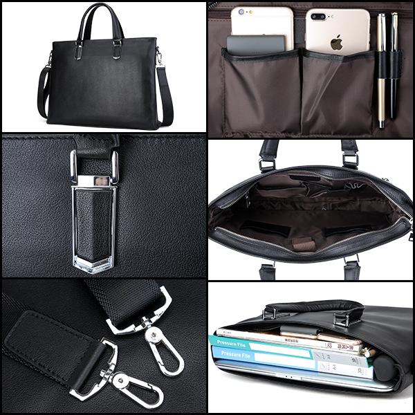 TIDING 本革 メンズ トートバッグ バッファローレザー 水牛革 ビジネスバッグ ブリーフケース 2WAY A4 書類鞄 14PC 2WAY 通勤出張 潮牛_旅行、出張通勤などシーンに使える