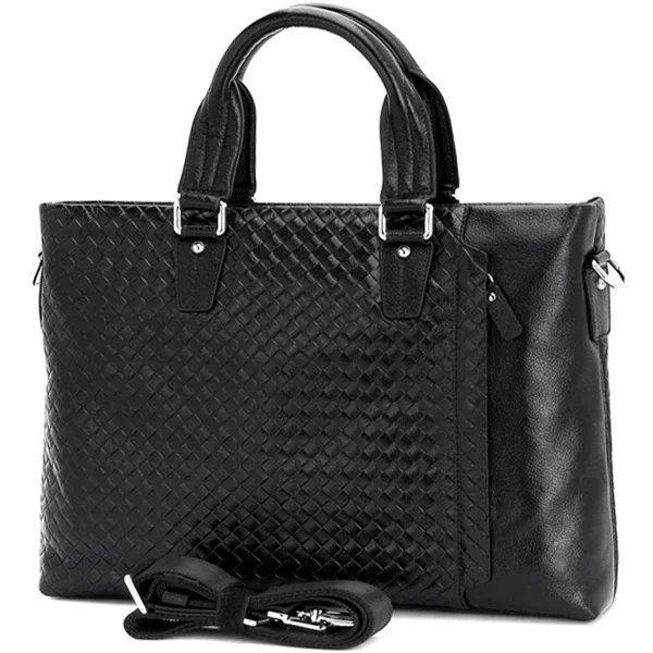 メッシュ柄 ビジネスバッグ 本革 メンズ ブリーフケース 書類鞄 バッファローレザー 2WAY 13PC A4対応 黒 TIDING 潮牛