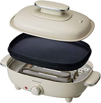 ホワイト モノクローム ホットプレート お好み焼き 焼肉 平面 波型 リバーシブル プレート 蓋付き ホワイト MHP-1210_画像1