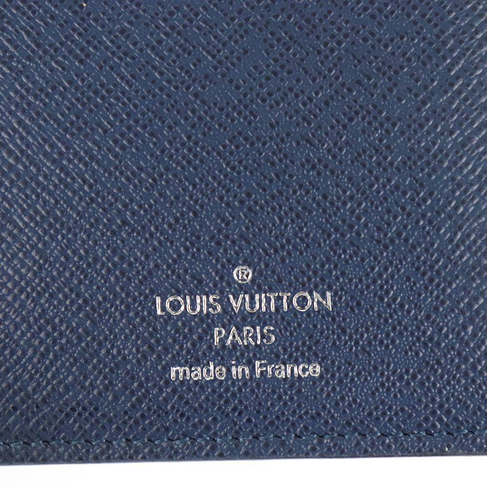 ルイヴィトン LOUIS VUITTON 二つ折り長財布 札入れ タイガライン ポルトフォイユ ロン M33404 オセアン ネイビー レザー 中古A 262679_画像9