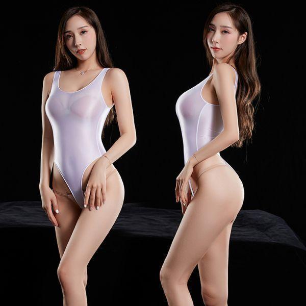 最新作 超肌触りの良い 上質 光沢 スベスベ競泳水着 ハイレグレオタード レースクイーン 超sexy ストレッチ コスプレ 白色_画像1
