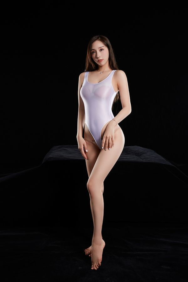 最新作 超肌触りの良い 上質 光沢 スベスベ競泳水着 ハイレグレオタード レースクイーン 超sexy ストレッチ コスプレ 白色_画像6