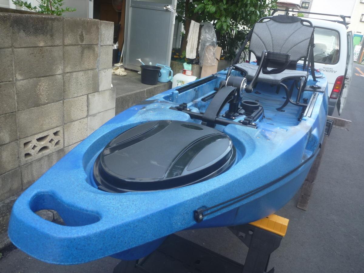 「☆新品☆足漕ぎタイプのフィッシングカヤック(プロペラタイプ)11ft (332cm)☆ブルーカモフラージュ☆小さいイケスが付いて便利になりました」の画像2
