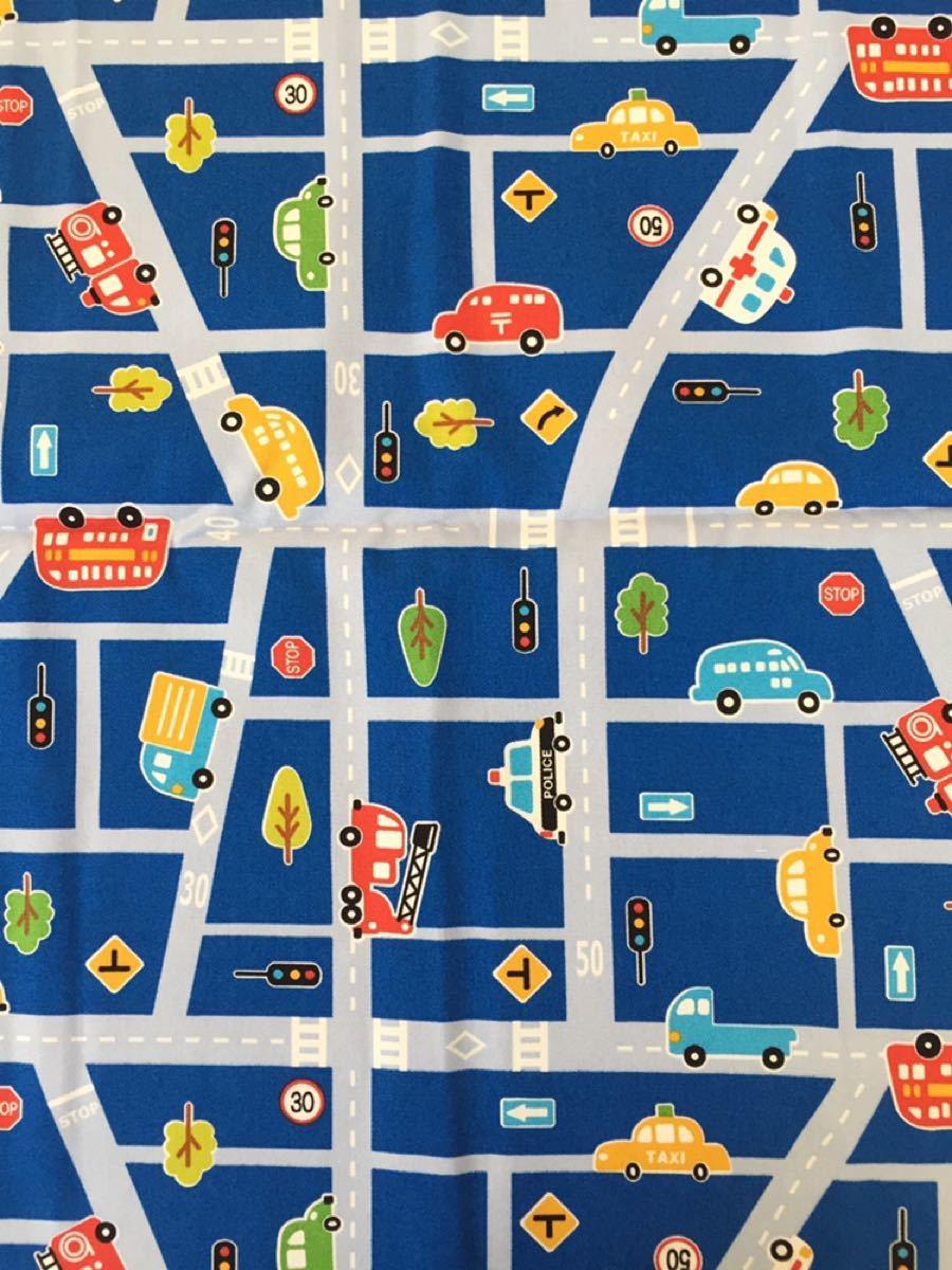 乗り物 車柄(ブルー)綿100% 約108cm巾×50cm オックス生地 日本製 入園入学準備 ハギレ はたらく乗り物 くるま柄