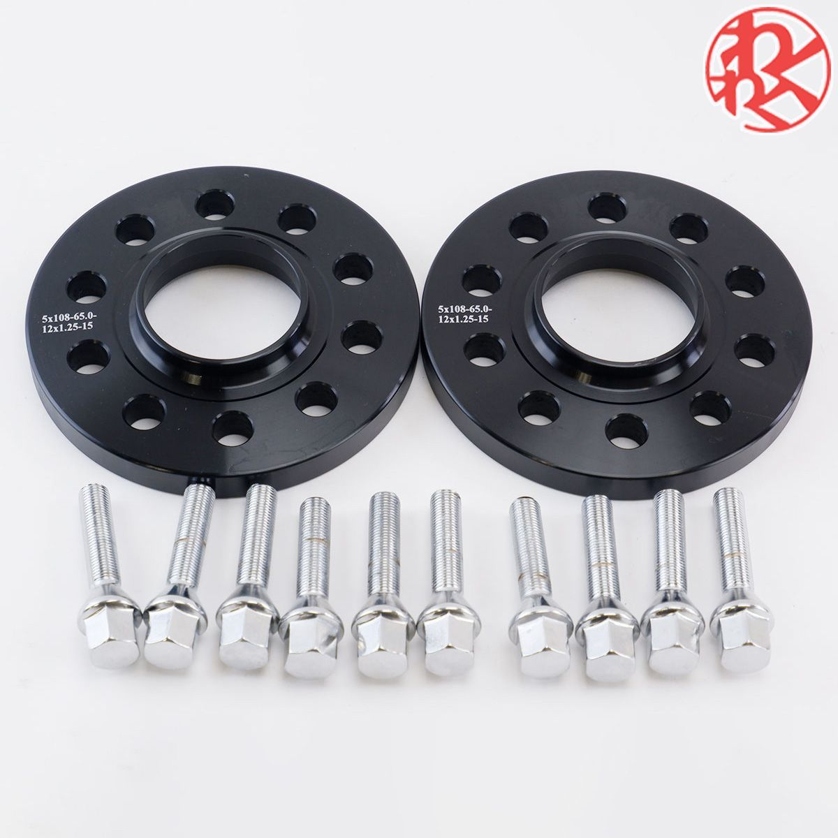 wide-tread spacer hub one body thickness 15mm PCD108 5 hole hub diameter φ65 M12×P1.25 taper bearing surface bolt attaching Peugeot 3008 508 308 RCZ