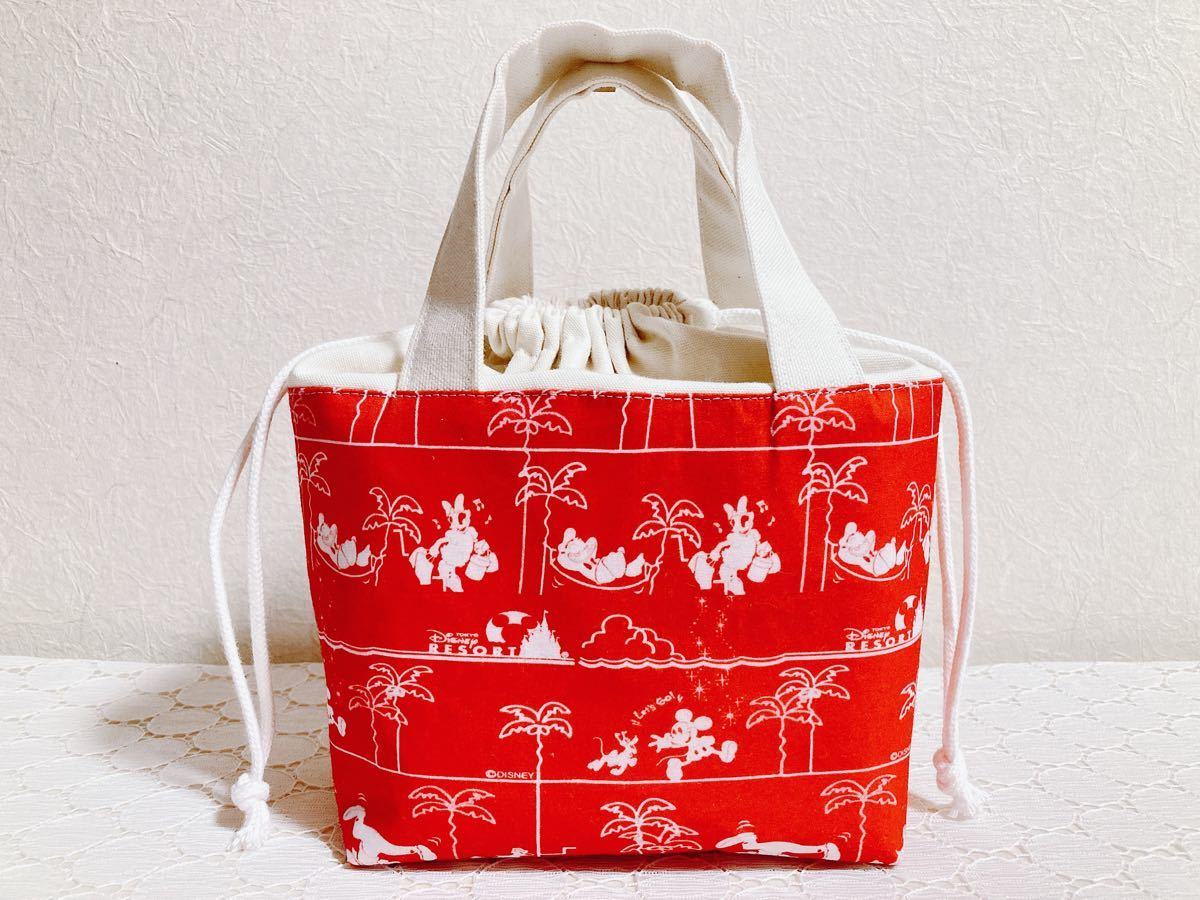 ランチバッグ《17》紙皿柄 フード柄 ディズニー  ミニバッグ バックインバック ハンドメイド トートバッグ