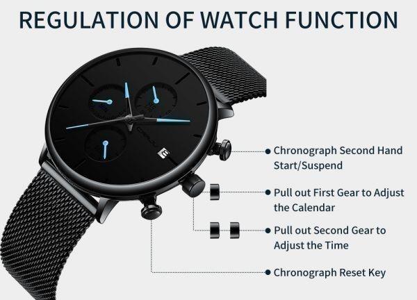 メンズ スポーツウォッチ CRRJU ユニークデザイン 多機能 腕時計 ビッグダイヤル 防水ステンレス鋼メッシュ 全5色_画像7