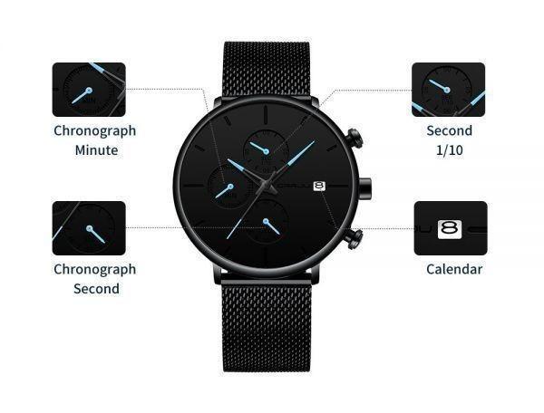 メンズ スポーツウォッチ CRRJU ユニークデザイン 多機能 腕時計 ビッグダイヤル 防水ステンレス鋼メッシュ 全5色_画像8