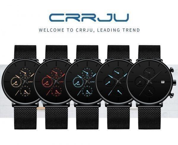 メンズ スポーツウォッチ CRRJU ユニークデザイン 多機能 腕時計 ビッグダイヤル 防水ステンレス鋼メッシュ 全5色_画像6