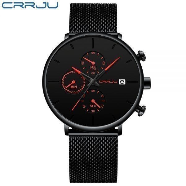 メンズ スポーツウォッチ CRRJU ユニークデザイン 多機能 腕時計 ビッグダイヤル 防水ステンレス鋼メッシュ 全5色_画像5