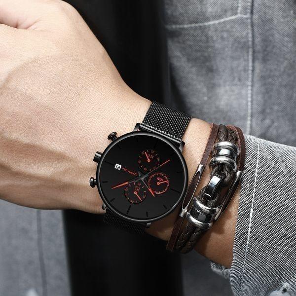 メンズ スポーツウォッチ CRRJU ユニークデザイン 多機能 腕時計 ビッグダイヤル 防水ステンレス鋼メッシュ 全5色_画像4