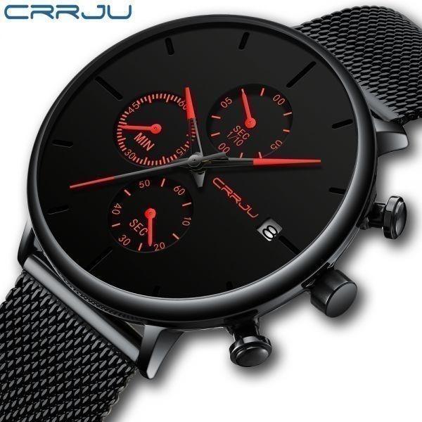 メンズ スポーツウォッチ CRRJU ユニークデザイン 多機能 腕時計 ビッグダイヤル 防水ステンレス鋼メッシュ 全5色_画像1